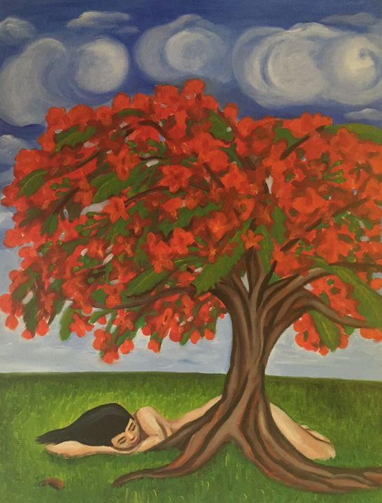 """Soñando en Flamboyán Puertorriqueño"" 2015, 18x24"", oil on canvas. This painting is a part of my Puerto Rican series. While traveling in Puerto Rico, the Flamboyan tree's bright red pop can be seen throughout the otherwise green landscape. The Flamboyan is a typical symbol of the island. I created this painting about a girl taking a nap, curled close to a majestic Flamboyan, not just sleeping, but dreaming within it, as it blooms beautiful and bright with her imagination."