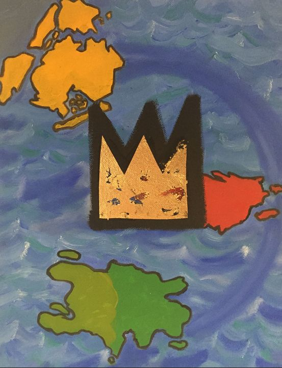 """Basquiat's Crown and His Islands"" 2015, 11x14"" oil and gold leaf on canvas. This painting is a part of my Puerto Rico series. While traveling in Puerto Rico, I noticed a lot of the street artists had incorporated Basquiat's crown in to their pieces. I am a huge fan of Basquiat and it got me to thinking about how he still captures the imagination of so many people, how many feel strong affinities towards him, and how often his crown appears in all sorts of art. Being a self-taught artist, a native-New Yorker with parents of Puerto Rican and Haitian descent - I wanted to represent his multi-ethnic background by showing those islands - and his ubiquitous gold crown dominating the foreground."