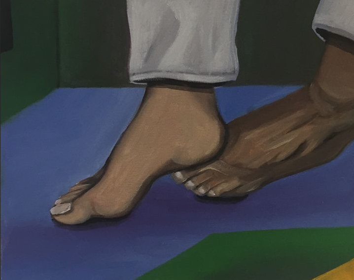 """Rastiera!"" 2015, acrylic on canvas, 8z10"". This painting is a part of my capoeira series (capoeira is a Brazilian martial art). Here we see a close-up of one person's foot on the floor, about to get a rastiera (a strategic sweep) by another person's foot. They are playing inside of a capoeira roda (circle)."