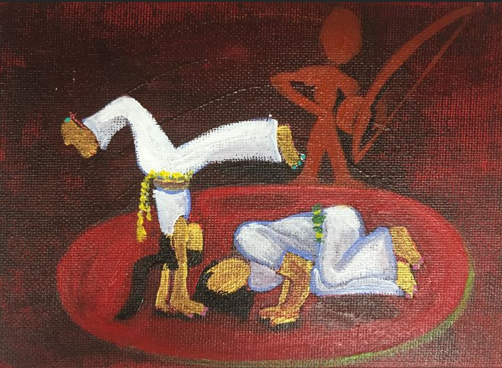 """Sardinha e Milagre"" 2015, acrylic on canvasboard, 4x5"". This painting depicts two people playing capoeira (a Brazilian martial art). They're female capoeiristas (capoeira players) wearing uniforms, doing typical moves in the roda (circle). There's a spirit in the background planing birimbau (instrument used in capoeira). Sardina and Milagre are their apelidos (nicknames)."