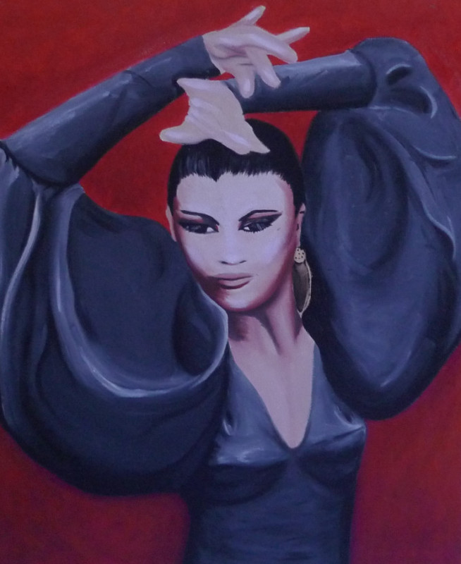 """Flamenco,""18 x 24"", oil on canvas, 2008.<br /> I found a beautiful photograph of the famous flamenco dancer, La Tania, and I was inspired to try and capture her majesty in a painting."
