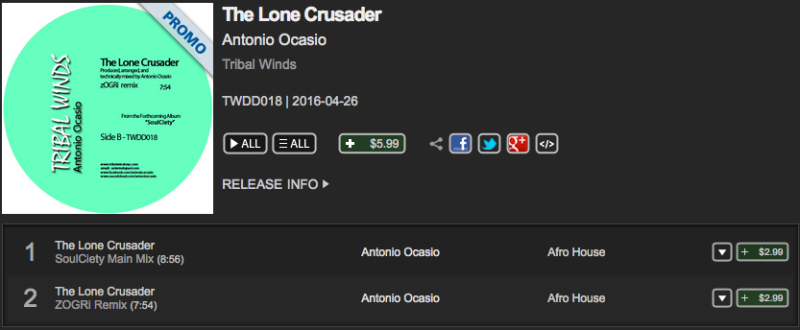 Traxsource Lone Crusader Antonio Ocasio Tribal Winds