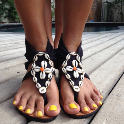 cowrie shell sandals