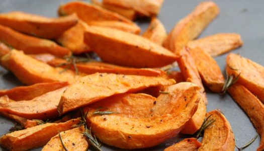 Roasted Sweet Potato Sticks with Rosemary