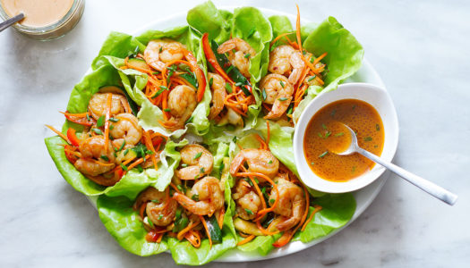 Thai-Style Shrimp Lettuce Wraps with Peanut Sauce